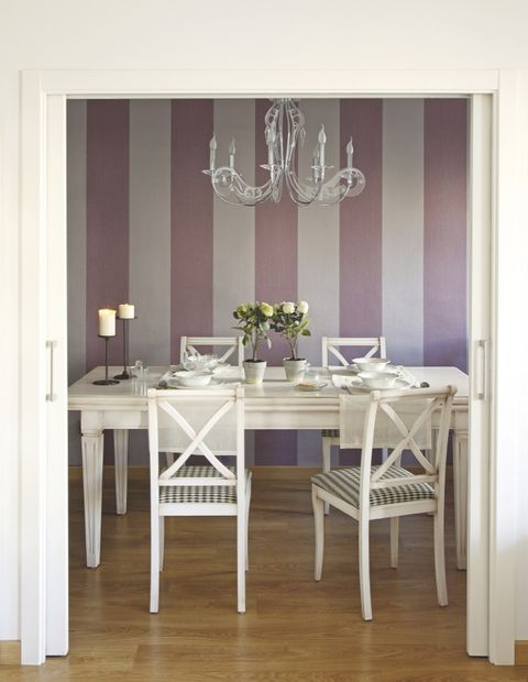 Dining room, Room, Furniture, Table, Purple, Interior design, Kitchen & dining room table, Property, Violet, Floor,