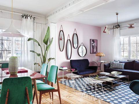 salón comedor actual decorado con glamour