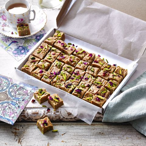 pistachio, cardamom and rose fudge