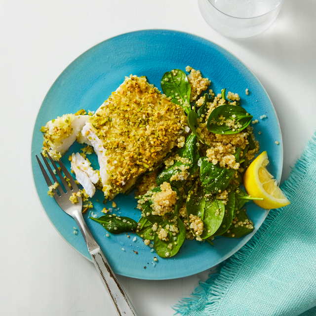 pistachio crusted fish spinach quinoa recipe
