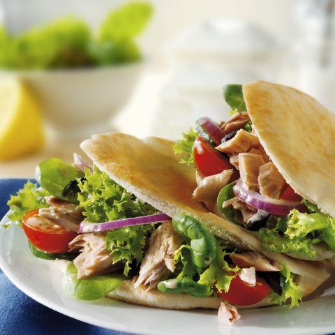 Pita bread filled with tuna salad