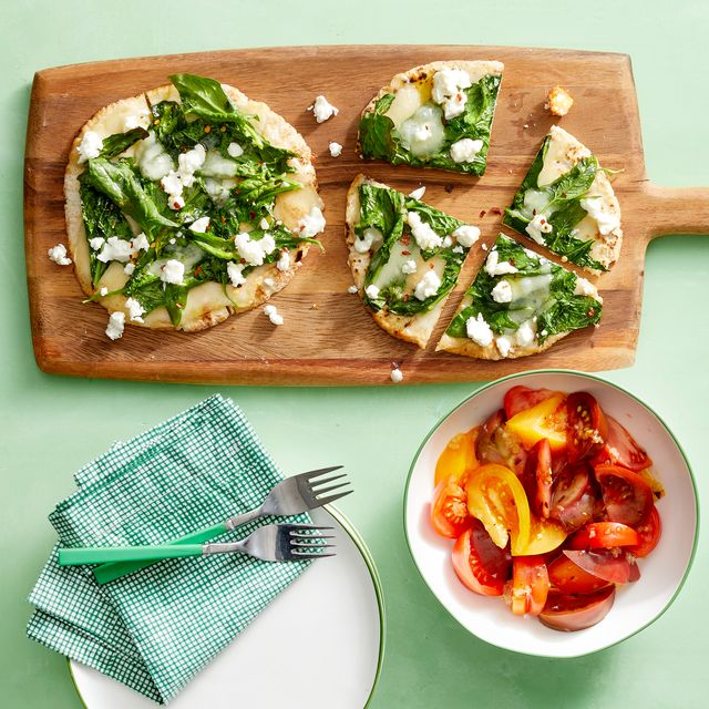 spinach and cheese pita pizzas with tomato salad recipe