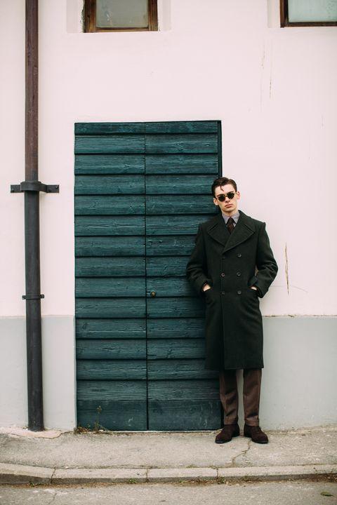 Green, Photograph, Standing, Wall, Door, Yellow, Snapshot, Window, Suit, Room,