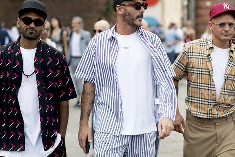 Street fashion, People, Fashion, Eyewear, Facial hair, Beard, Plaid, Outerwear, Human, Headgear,