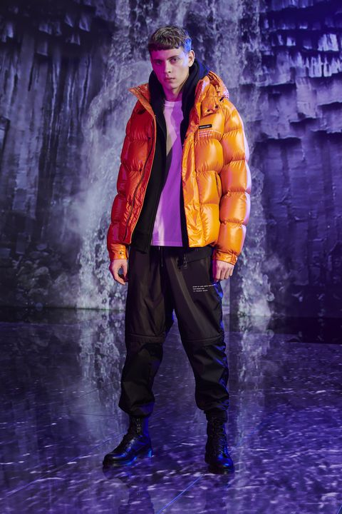 Fashion, Purple, Yellow, Outerwear, Electric blue, Fashion show, Runway, Jacket, Jeans, Trousers,