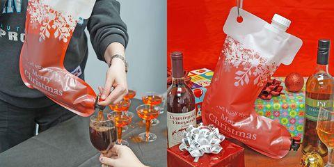 Red, Orange, Footwear, Shoe, Drink, Liqueur, Christmas stocking, Distilled beverage,