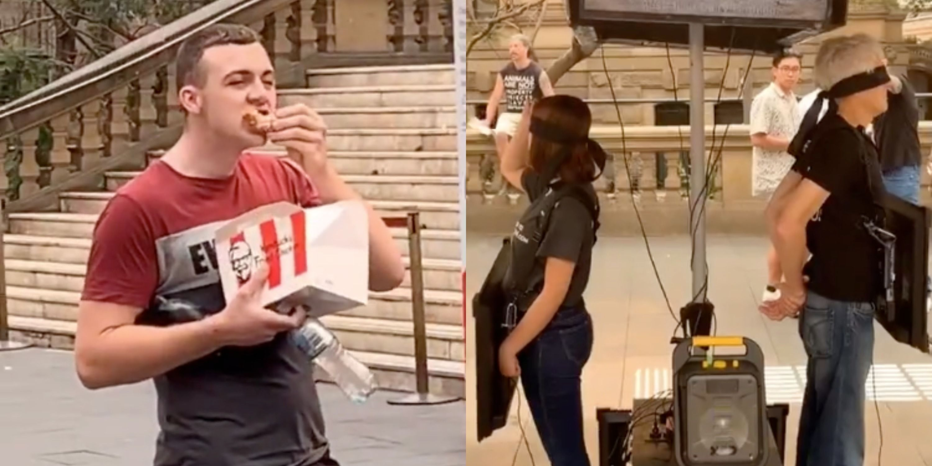 People Cannot Get Enough Of This Man Eating KFC Chicken While Watching Vegan Protestors