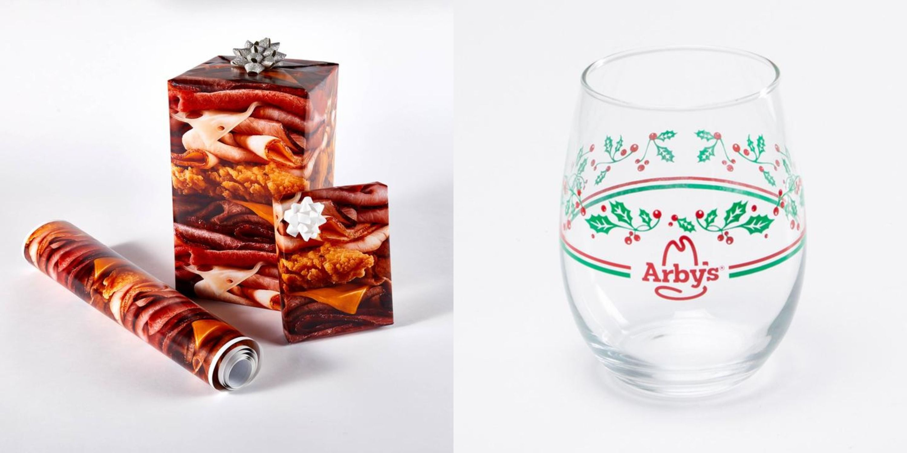 Arby's Has A Holiday Shop With Meat Wrapping Paper And A Pretty Vintage Glass