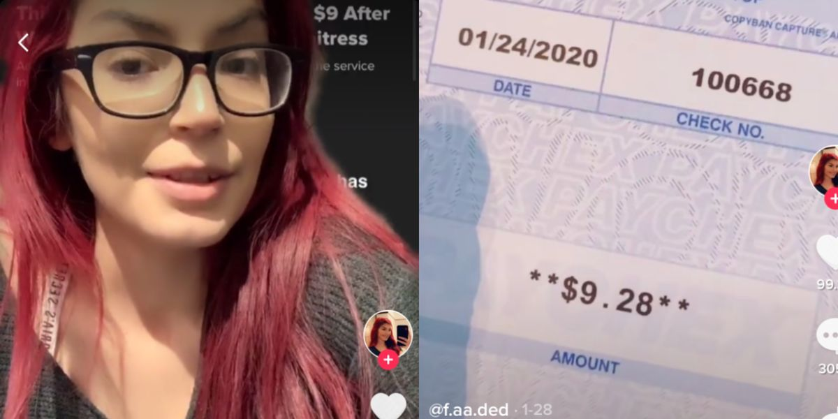 A Bartender Posted A Video Of Her Paycheck To Show How Low She's Paid Before Tips