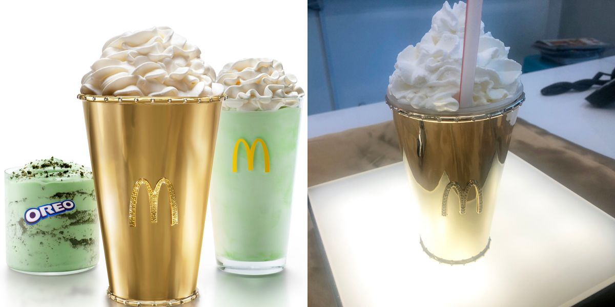 McDonald's Is Auctioning Off An 18-Karat Golden Shamrock Shake Covered In Diamonds And You Could Win One
