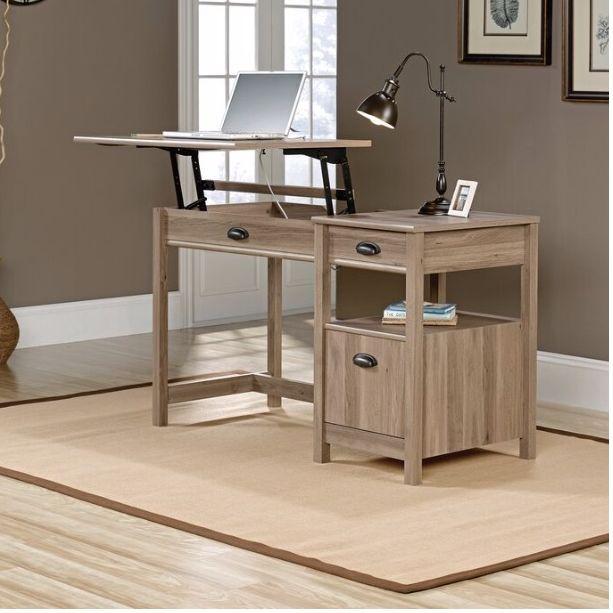two neutral standing desks
