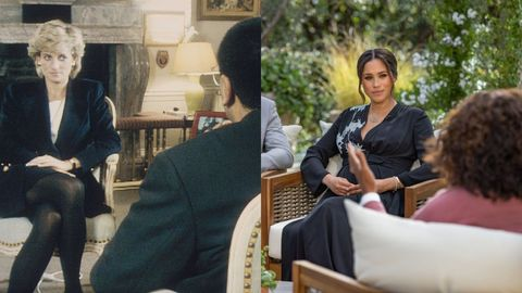 princess diana being interviewed  oprah with meghan and harry a cbs primetime special