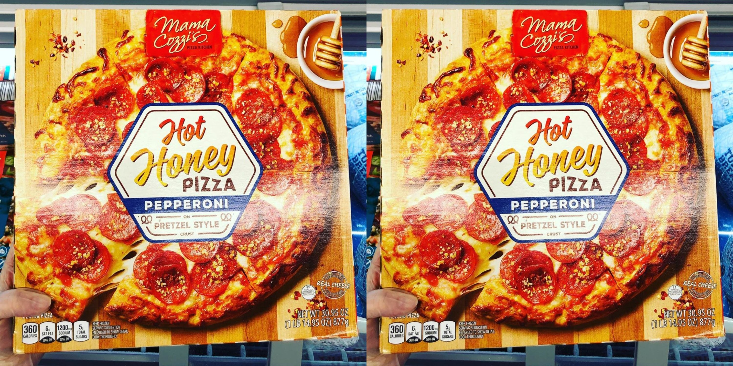 Aldi Has Pepperoni Pizza On A Pretzel Crust And Drizzled With Hot Honey