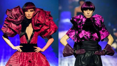 Clothing, Fashion, Fashion model, Purple, Outerwear, Velvet, Performance, Fashion design, Collar, Satin,