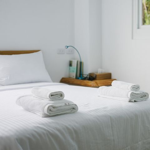 towels folded on bed
