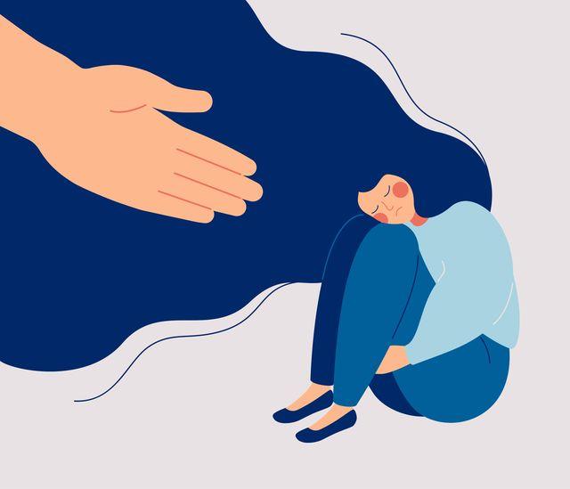 helpende hand richting een vrouw