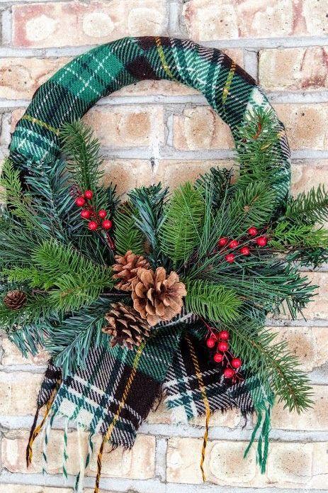plaid scarf wreath