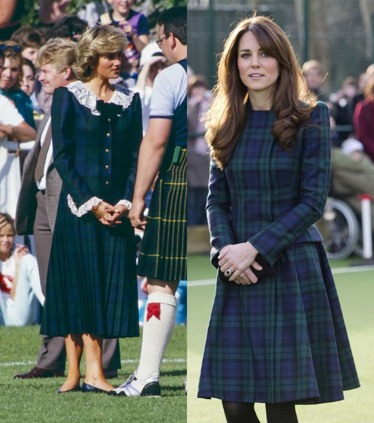 Princess Diana in blue and green tartan with a lace collar and cuffs at the Bute Highland Games in 1987 and Kate wearing green and blue tartan Alexander McQueen in 2012.