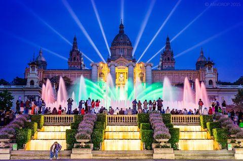 Landmark, Light, Lighting, Purple, Sky, Night, Architecture, Building, Tree, Flower,