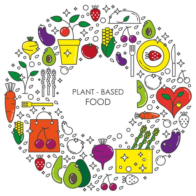 Plant-based food linear concept in circle with thin line icons in bright colors on white background, template with space for text.