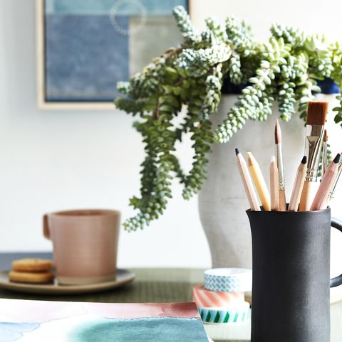 modern geometrics a black pot of pencils and paint brushes, green plant in a vase and blue painting on the wall in the background