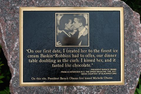 chicago, il   august 16 a plaque placed outside a strip mall in the hyde park neighborhood marks the location where president barack obama and first lady michelle obama shared their first kiss on august 16, 2012 in chicago, illinois the kiss took place in 1989 on the corner of dorchester and 53rd streets when the president treated the first lady to ice cream at a baskin robbins in the mall, which is now a subway restaurant the obamas will celebrate their 20th wedding anniversary in october photo by scott olsongetty images