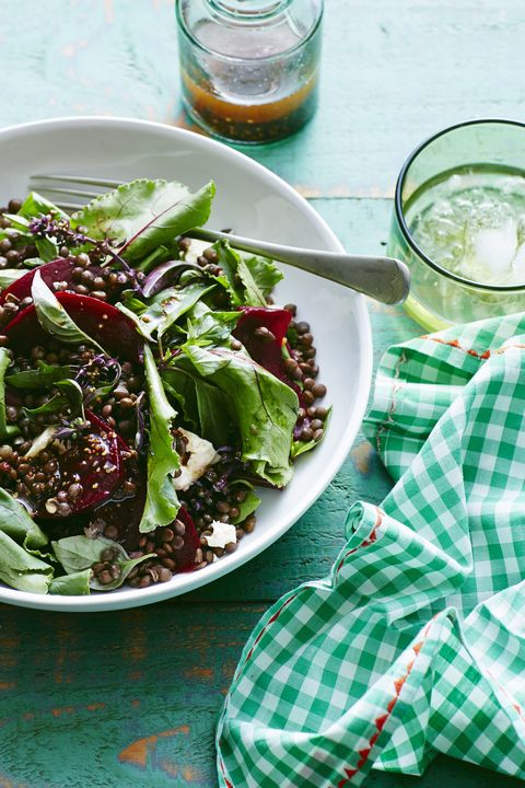 Plate of lentil, beetroot and feta salad