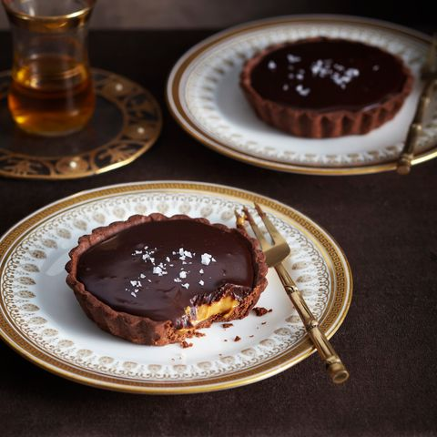 plate of salted chocolate caramel tart