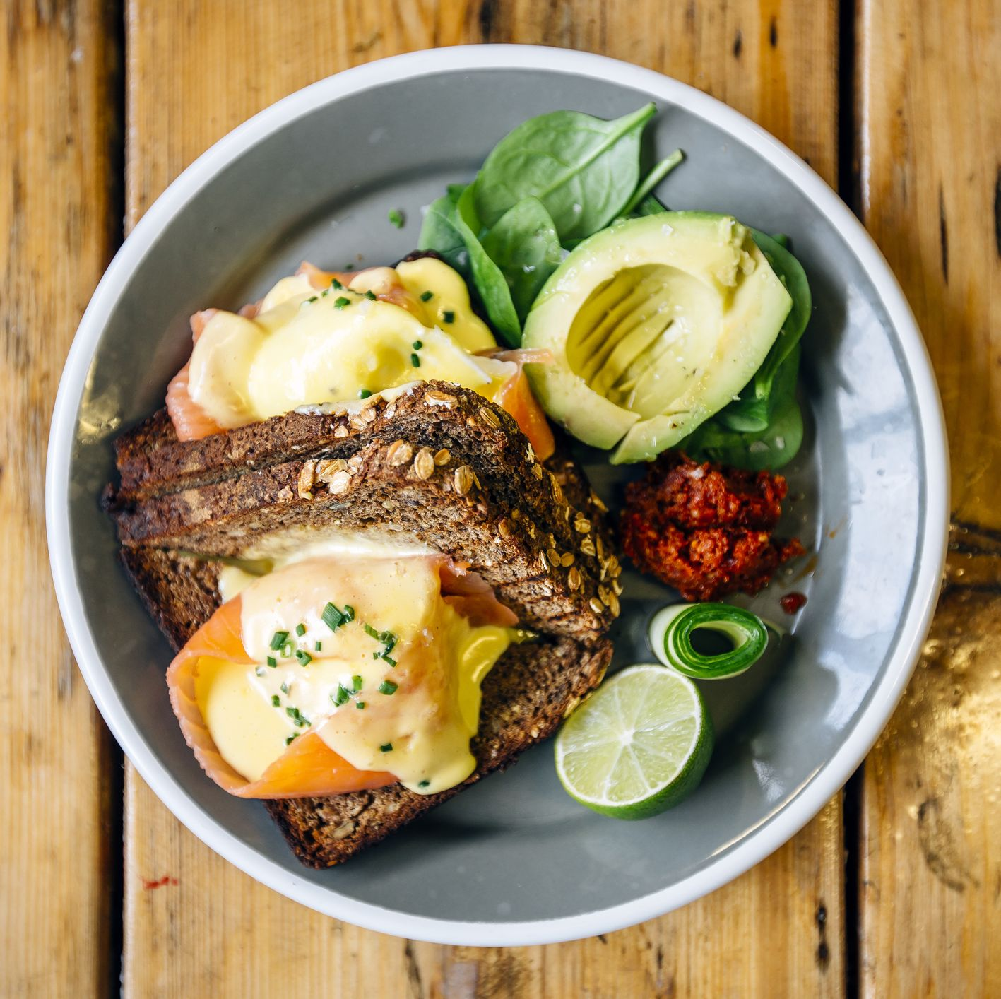 bowl full of toast, eggsand avocado