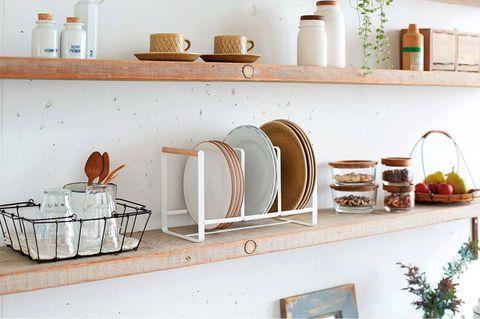 Shelf, Shelving, Furniture, Room, Kitchen, Table, Interior design, House, Countertop, Metal,