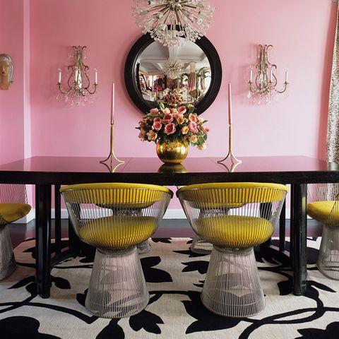 Pink, Table, Room, Furniture, Interior design, Dining room, Lighting, Light fixture, Chandelier, Chair,