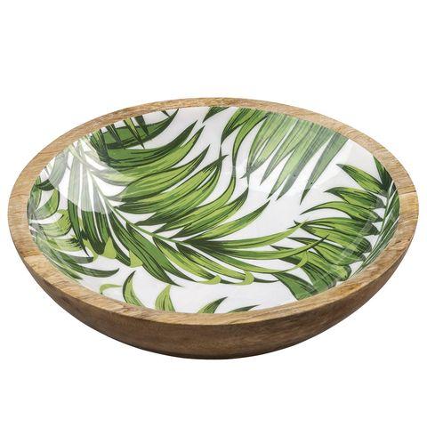 plato redondo de madera con estampado de hojas