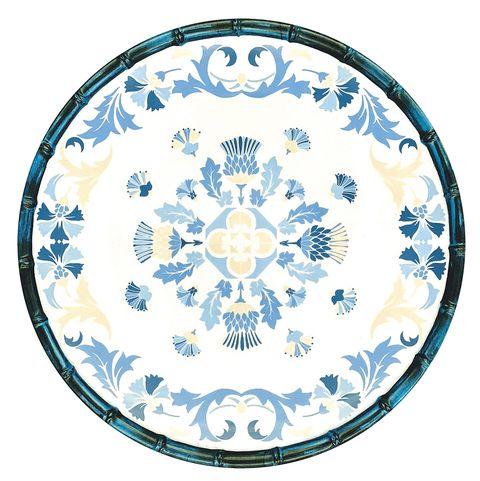 Plato de melamina, Lisboa, con dibujos en azul