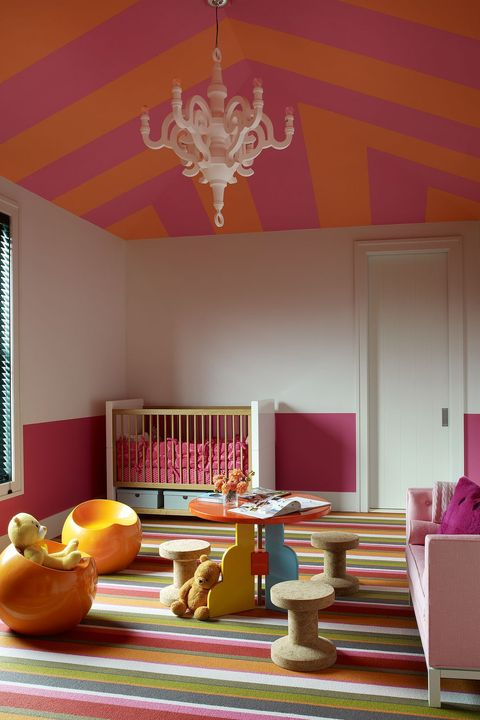 Room, Orange, Interior design, Ceiling, Yellow, Furniture, Property, Purple, Table, Building,