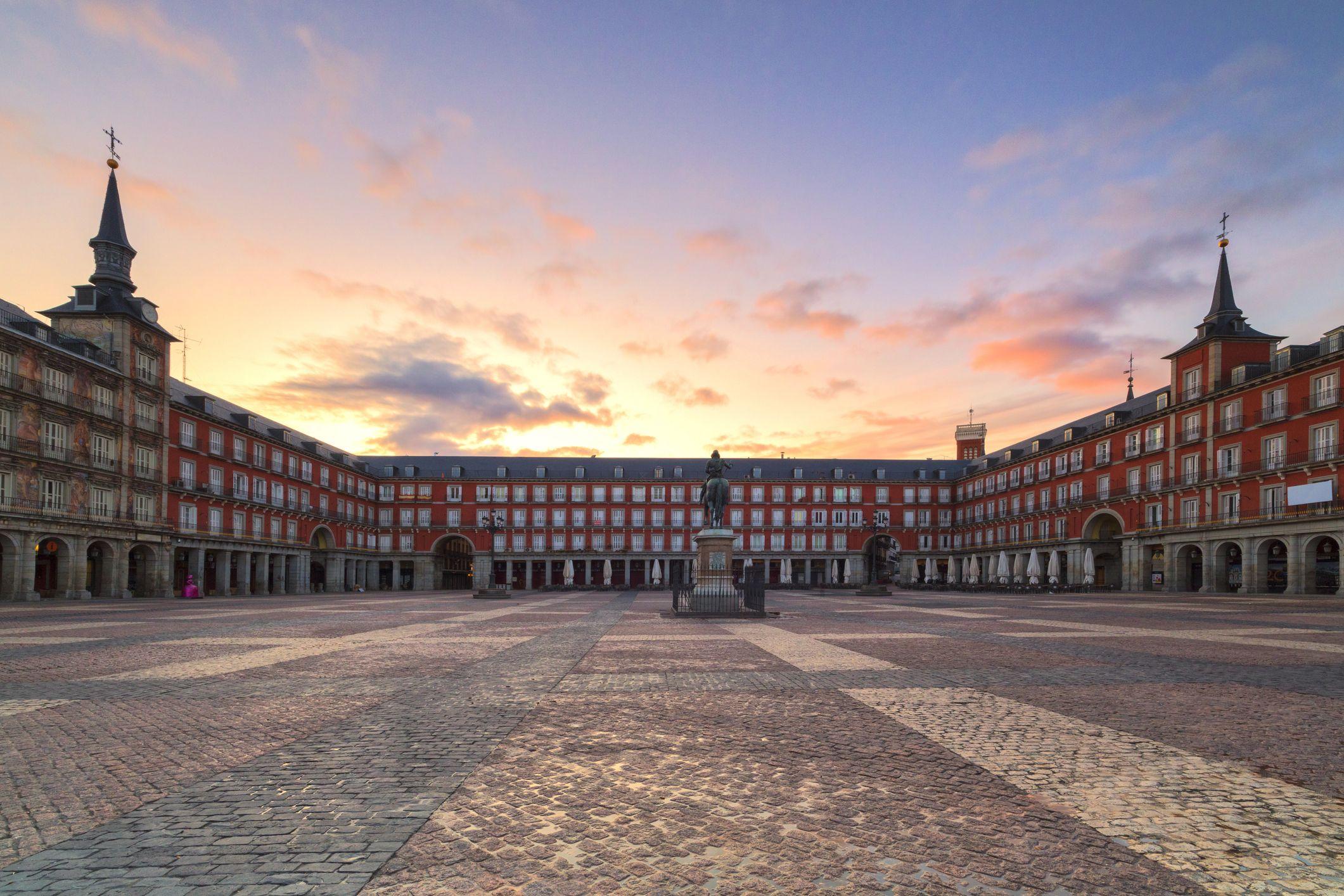 Plaza Mayor at sunrise, Madrid, Spain