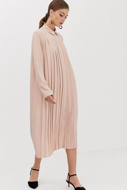 asos design pleated midi dress