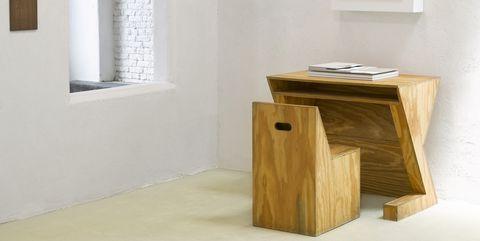 Furniture, Room, Table, Floor, Wood, Plywood, Hardwood, Material property, Interior design, Shelf,