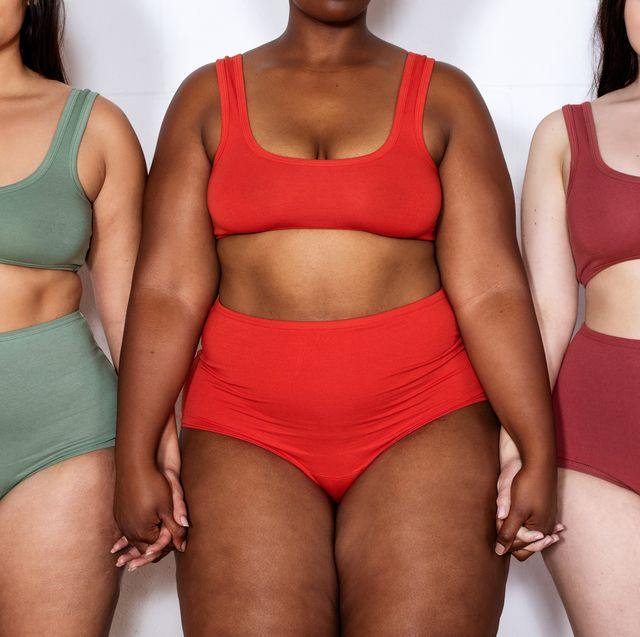 plus size women in lingerie standing together holding hands