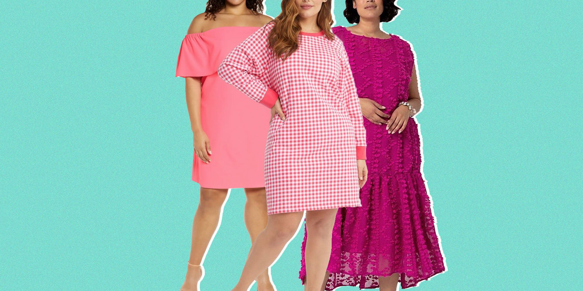 Pink striped midi dress below the knee hem length with short sleeves and boat neckline