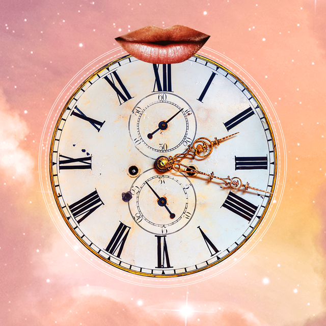 a pair of lips smiles over an old fashioned clock the background is a cloudy, purple pink sky full of stars