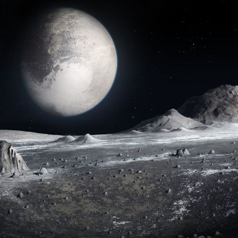 Pluto from the surface of Charon