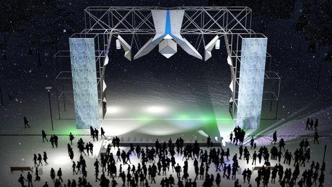 Stage, Sport venue, Arena, Music venue, Performance, Crowd, Technology, Event, Architecture, Graphic design,