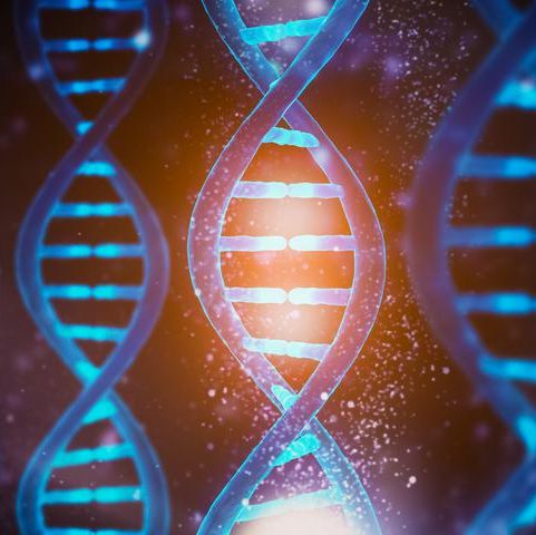 glowing and shining dna strands double helix close up medical, biology, microbiology, genetics 3d rendering illustration concept artist vision