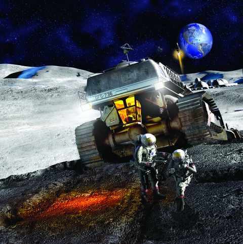 an illustration of lunar mining from the october 2004 cover of popular mechanics