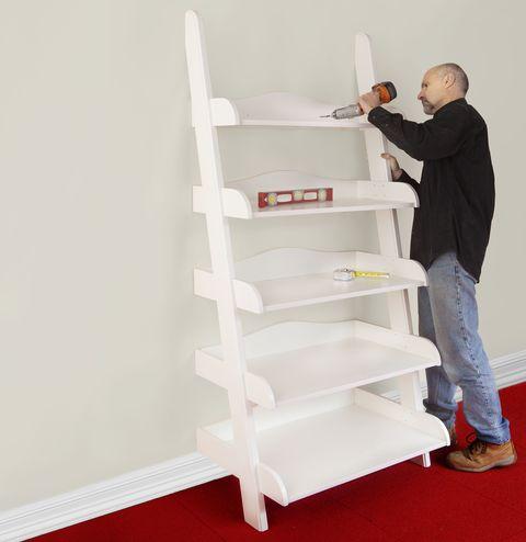 How To Build A Ladder Shelf Ladder Shelf Diy Plans