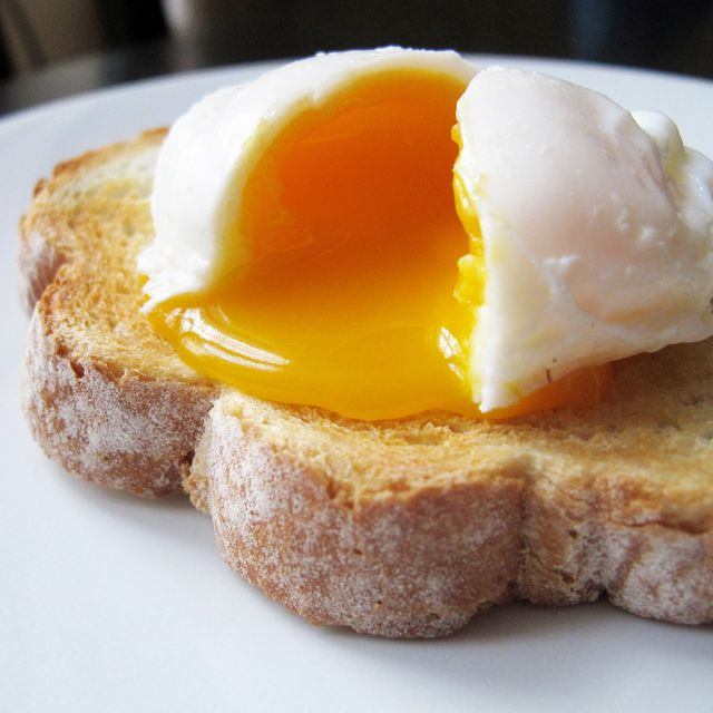 a single poached egg on artisan hand sliced toasted bread the egg is split to reveal a runny yolk