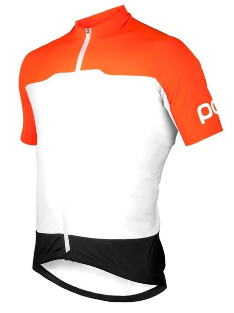 Clothing, Sportswear, White, Sleeve, Jersey, Orange, T-shirt, Bicycle jersey, Top, Active shirt,