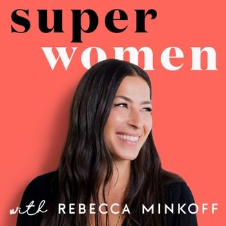 rebecca minkoff on a red background with superwomen superimposed