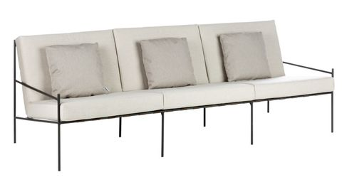 Minimal back framed outdoor sofa with white upholstered seat and back pads