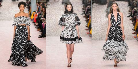 Fashion model, Fashion, Clothing, Runway, Fashion show, Shoulder, Dress, Haute couture, Pattern, Joint,